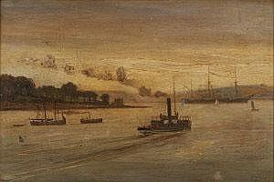 Joseph Poole Addey (1852-1922) Cork Harbour Oil on