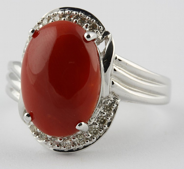 Chinese White Gold and Coral Ring