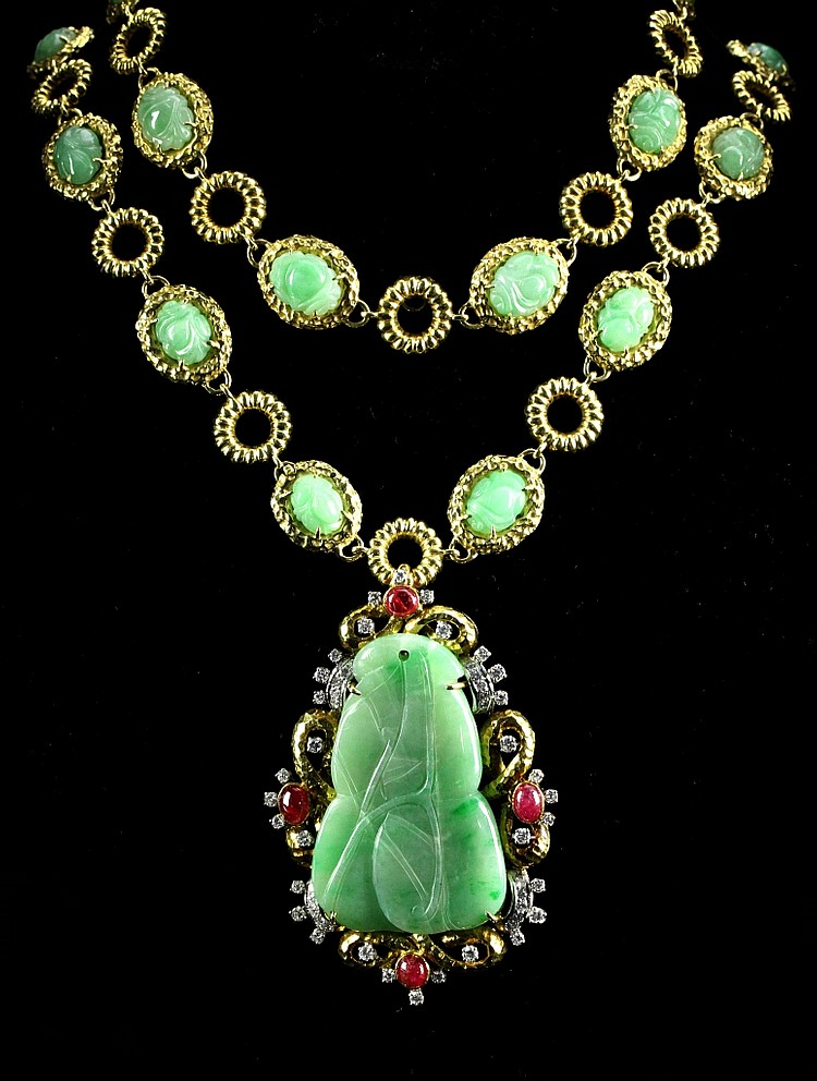 Jade, Ruby, and Diamond Necklace and Pendant