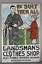 Wall size Landsman's Men's Clothes Shop Michigan store advertising metal sign;