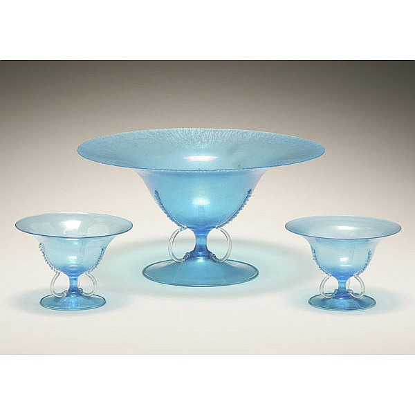 Salviati Murano glass console set, attributed.