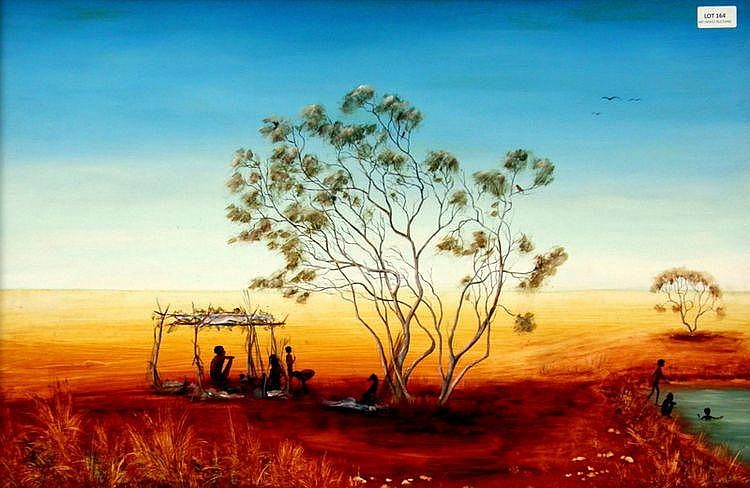 SUE NAGEL (1942 - ), Original Acrylic Painting on Board, Title:  Aboriginal Billabong, Signed Lower Right