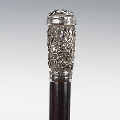 A Chinese Dragon Motif Walking Stick