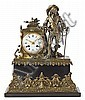 A marble and bronze French clock. Late 19th century. Marble stand. Paris machinery. Rounded off by a swordsman figure. 40 cm ht.