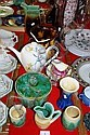 Various pottery jugs, vases, teapots, sugar bowls