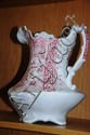 Large Victorian water jug, pink floral decoration,