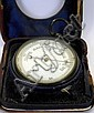 A travelling barometer contained in a leather