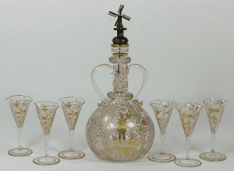 A 19th century Dutch decanter: having gilt