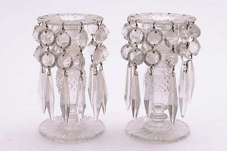 A pair of clear glass table lustres each with