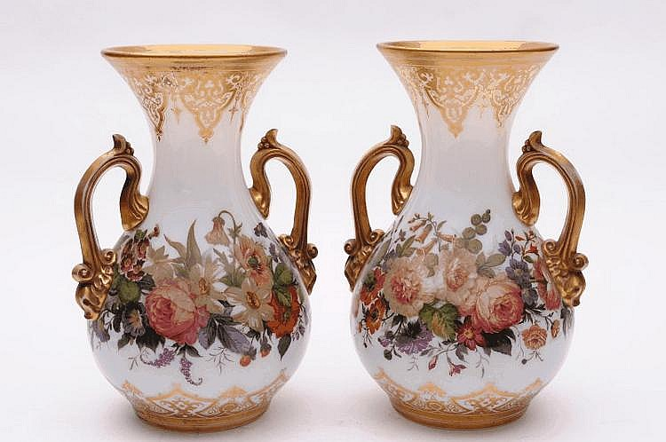 A pair of French opaline glass vases of baluster