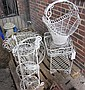 A pair of white painted wire work basket