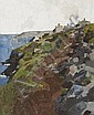 Sir Kyffin Williams (1918-2006) Coastal Scene, Anglesey oil on board, 2002, initialled in black paint lower right, signed and dated in black ink on the artist's adhesive label affixed verso,
