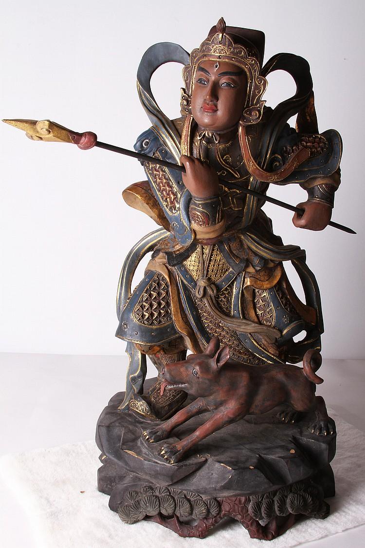 """75"""" 木雕鎏金加彩二郎神像(有裂痕)"""