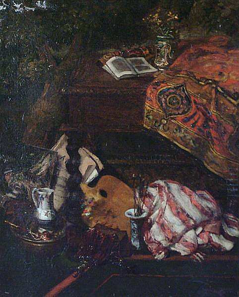 Jean André Rixens (French, 1846-1924) Still life of artist's studio