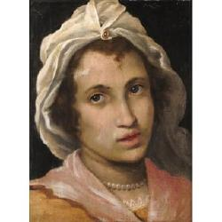 Cristofano Allori (1577-Florence-1621) 14 3/4 x 11 in. (37.5 x 28 cm.)in a carved and giltwood frame