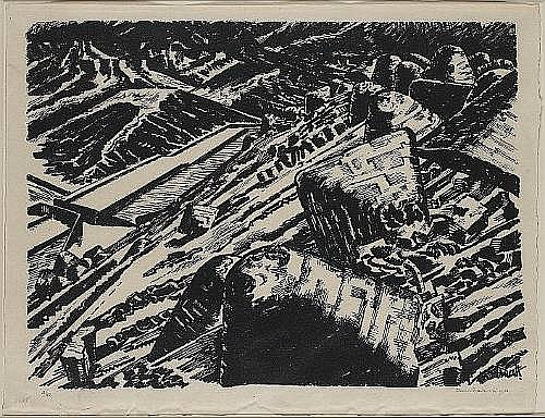Edward Wadsworth (British, 1889-1949) Ladle Slag, Old Hill Lithograph, 1920, printed in black, on japan paper with deckle edges, signed, dated and numbered 10/40 in pencil; faint time staining, float-mounted, apparently in good condition, unexamined