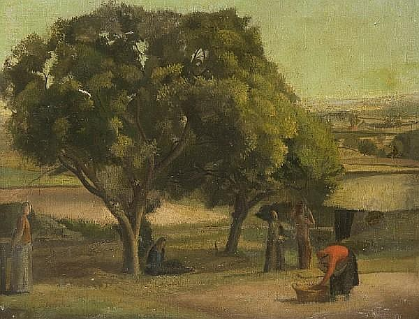 Attributed to Maxwell Gordon Lightfoot (British 1886-1911) Figures in a landscape