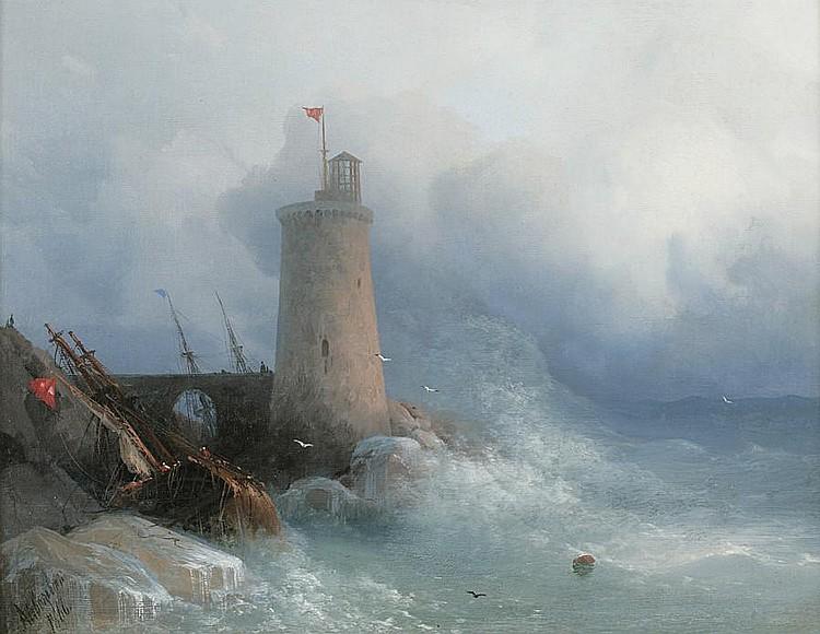 Ivan Aivazovskii, Swept to the Rocky Shore, 1866