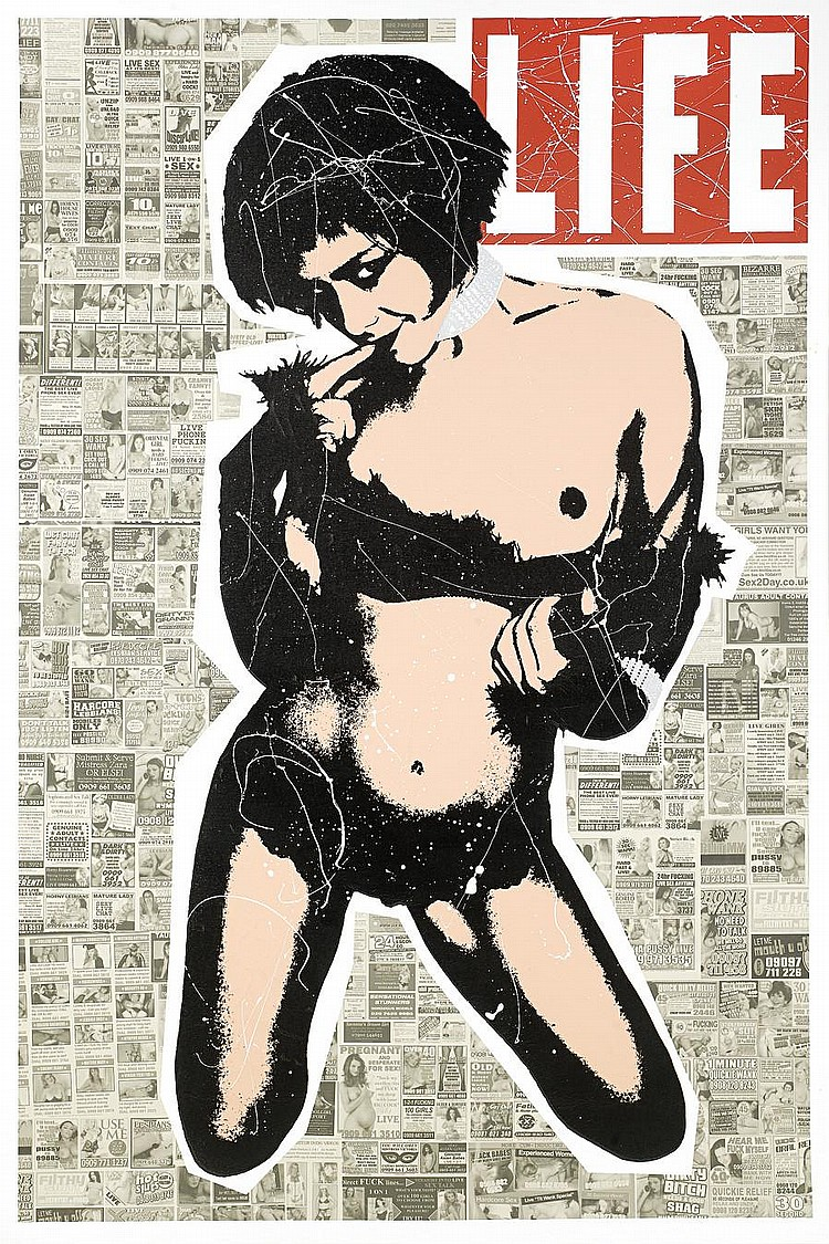 Goldie (Clifford Price) (b.1965) Life Aint Black and White signed and inscribed No 3 on the reverse acrylic and screenprint on canvas 150 by 99.5 cm. 59 1/16 by 39 3/16 in.
