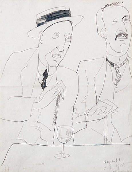 Nina Hamnett (British, 1890-1956) George Moore and Lord Alfred Douglas in the Cafe Royal, 1915