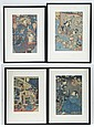 (4) Japanese wood block prints, 20th c, typically 13 1/2