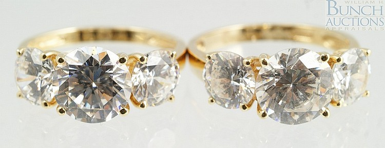 (2) 14K YG cubic zirconia ladies rings, size 5, 4.1 dwt
