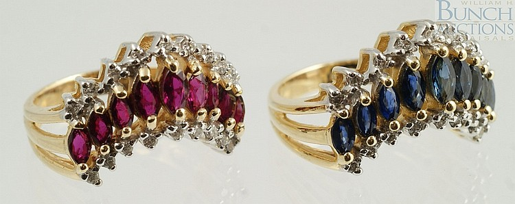 (2) 14K YG V shaped ladies rings, one with rubies and diamonds, the other with blue spinels and diamonds, size 5, 7.4 dwt