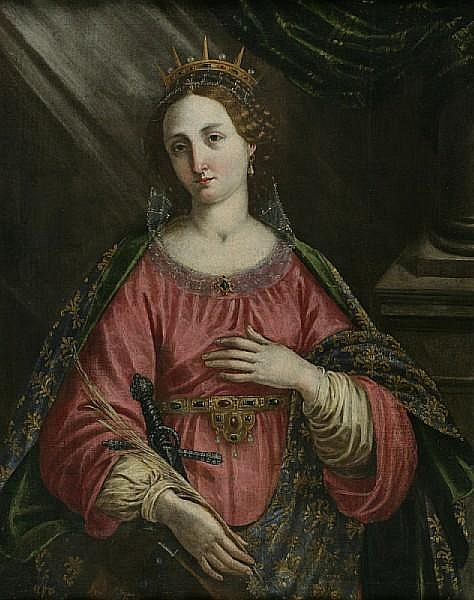 Studio of Jacopo Chimenti, called Jacopo da Empoli (Italian, circa 1554-1640) Saint Catherine of Alexandria 41 x 32 1/4in (104 x 82cm)