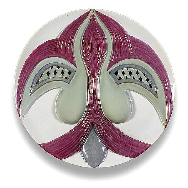Judy Chicago (American, born 1939) The Dinner Party Test Plate (Eleanor of Aquitaine), 1979 diameter 14in in custom display case 33 x 26 1/2 x 26 1/2in