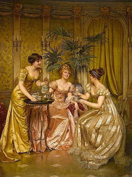 Frédéric Soulacroix (French, 1858-1933) Tea time 34 x 26in (86.4 x 66cm)