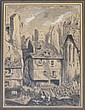 ADAMS, M. 1878 Pen, Ink & Wash Village Scene.
