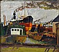 Signed Oil on Canvas of a Shipyard.