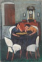 Signed 20th C. Oil/Canvas. Two Woman Playing Chess