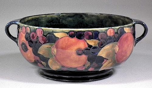 A Moorcroft pottery circular two-handled fruit