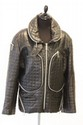 Issey MIYAKE - Blouson en cuir noir matelass,  dcor de zips chroms,  deux grandes poches sur le devant, taille M. Annes 80. Bon tat.