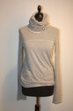 CHANEL - Pull  col roul en laine mlange, fines rayures gris fonc,    gris clair et blanc. Taille 44. Bon tat