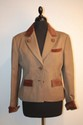 HERMES - Blazer en whipcoat marron, col , poignets et rabas de poche en velours marron, boutons velours orns d'un cor de chasse  en mtal argent , sigls Herms, taille 36 / 38. Bon tat