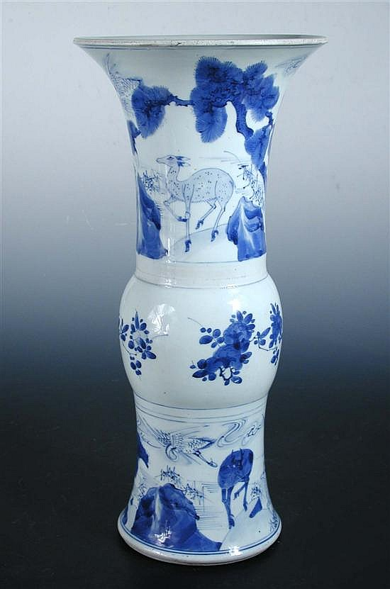 A blue and white gu shaped vase, period of Kangxi,