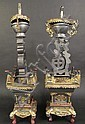 UNUSUAL PAIR OF CHINESE PART GILT AND PAINTED