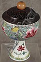 CHINESE PORCELAIN FAMILLE ROSE STEM CUP.  With wooden lid.  19th century.  Lid w