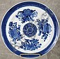 EARLY ORIENTAL EXPORT PORCELAIN PLATE.  Blue Fitzhugh pattern.  Ca. 1800.  9 1/2