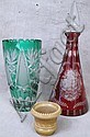 BOHEMIAN CUT OVERLAY GLASS DECANTER.  (Note:  chip).  Together with a green cut overlay glass vase and a greentown chocolate glass toothpick.