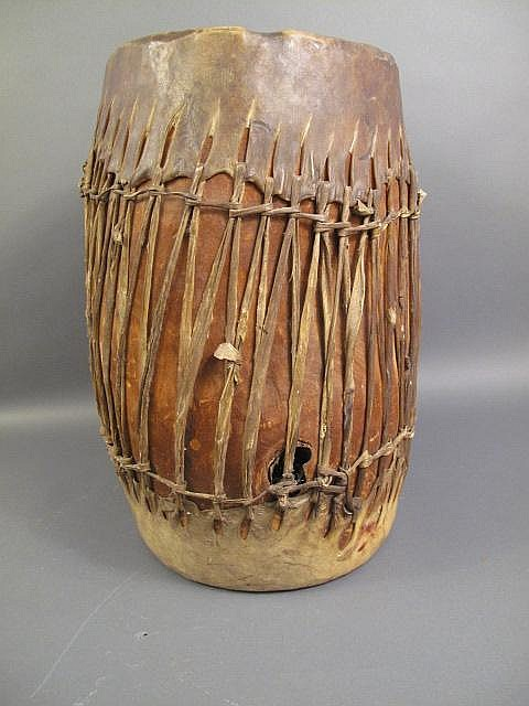 A GOOD LARGE OLD NAVAJO COTTONWOOD DRUM. In