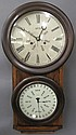 L.F. & W. CARTER HANGING DOUBLE DIAL CLOCK. With a