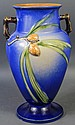 OUTSTANDING ROSEVILLE POTTERY BLUE PINECONE VASE.