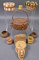 SMALL INDIAN BASKETS. Eleven including weaves,