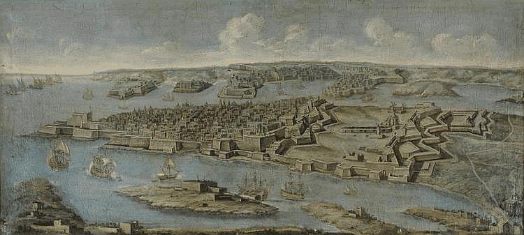Giuseppe GUERRA (?-1761) Attribu  Vue panoramique de La Valette, Malte. Toile. 92 x 207 cm. Nous pouvons rapprocher notre tableau d'une vue panoramique similaire, Malte : Le grand port de La Valette, appartenant  la Wallace Collection de Londres,