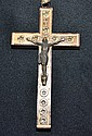 JERUSALEM CRUCIFIX. Wood and metal crucifix inset with stone from the way to Calvary in Jerusalem, 14 inscribed circles representing the 14 stations of the Cross. Size; 6''H, 3 1/4''W. Condition; age appropriate wear.