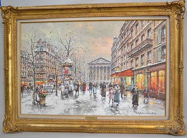 ANTOINE BLANCHARD (French 1910-1988) Rue Royale and Church of the Madeleine in winter, oil on canvas, signed lower right Antoine Blanchard. Gallery label: Wally Findlay Galleries. Contained in gilt frame with brass name plate. Condition: no visible