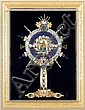 LEE YOHO JEWELED MONSTRANCE ARTWORK. Original artwork by Lee Yoho, jeweled monstrance created from costume jewelry fragments, center oval Madonna and Child in faux luna, mounted on black velvet in plexiglass shadow box in giltwood frame. Marked: One